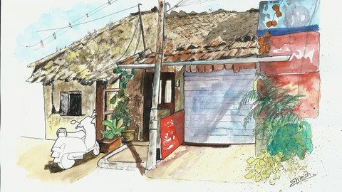 Sketch a Hut using Pens, Inks and Watercolors