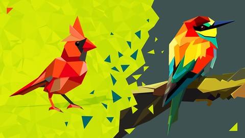 Векторная графика: Птицы в оригами стиле в Adobe Illustrator