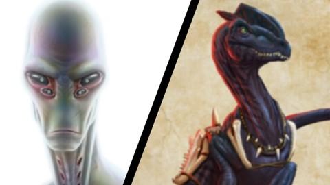 Digital Painting Series: Ominous Alien and Tribal Dino
