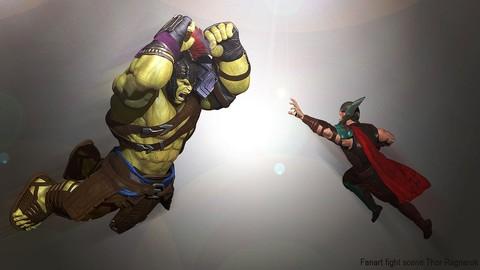 Crea a Hulk en zbrush Vol.4: Pose y render Lucha Completa