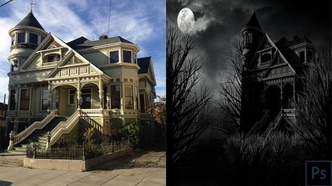 Photoshop CC: Create a Spooky Haunted-House in one hour
