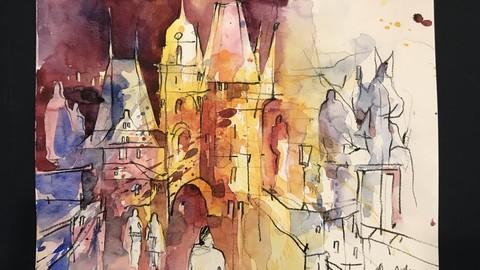 Mystisches Prag. Aquagrafik. Werk 1