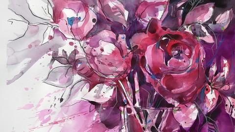 Kreative  Blumen Kompositionen.  Aquagrafik. Werk 2