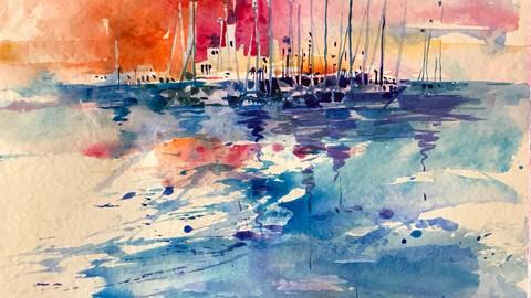 Aquarell. Stimmungsvolle Hafenlandschaft in Spanien.
