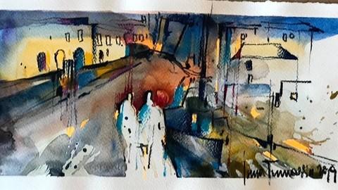 Modern Watercolor. 4 Spain Landscapes.
