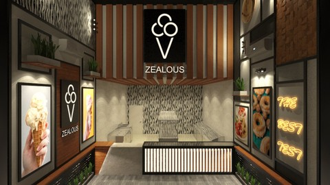 3Ds MAX & Vray - Design 3D Modern Shop Project in 4.5 hrs.