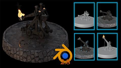 Blender 3D Model a Medieval Catapult Full Simulation Guide