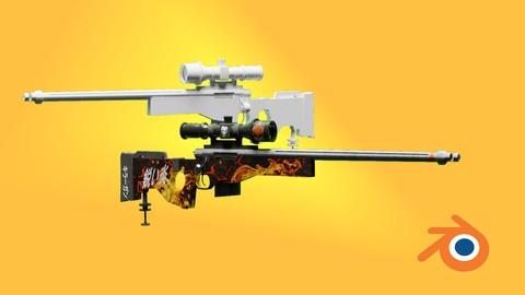 Blender 2.8 | Create Sniper Rifle Gun With Skin In Blender