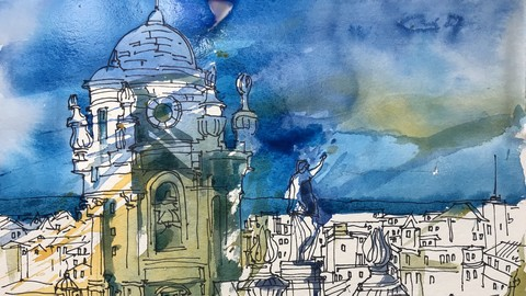 Kreatives Sketching. Teil 2. Stadt Architektur