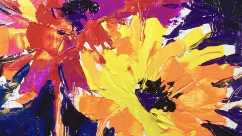 Acryl Malerei mit Spachtel. Teil 1. Blumen Kompositionen