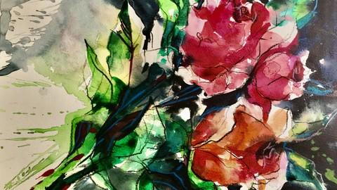 Акварельные розы. Акваграфика