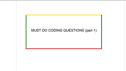 Leetcode must do questions (part 1)