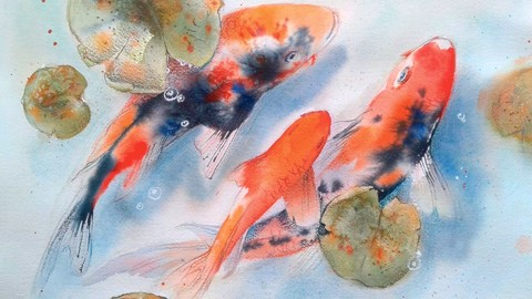 Watercolor painting Koi by feng shui for attracting wealth