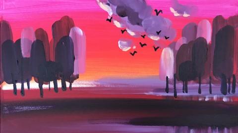 Acryltechnik: Rote Abend Sonne