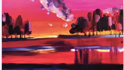 Живопись акрилом. Красный закат