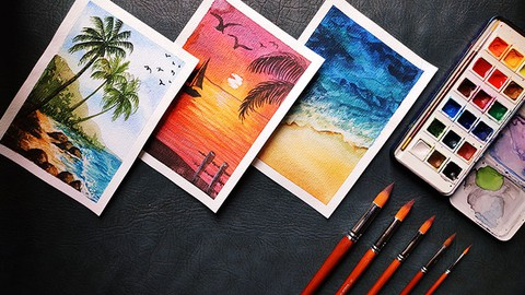 Learn to paint watercolor beaches   Painting easy seascapes