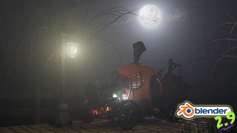 Blender 2.9 3D Model & Render a Stylized Halloween Scene