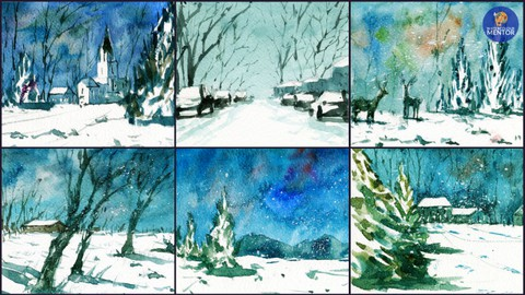 Snow Landscapes: Make 9 Watercolor Greeting Cards