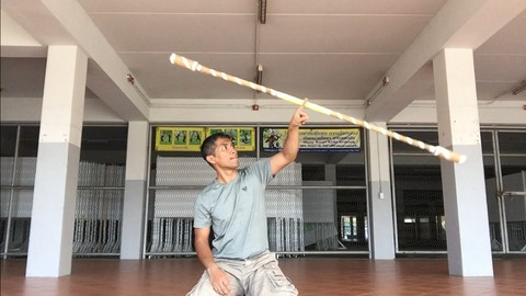 Long baton contact staff special movement for control baton