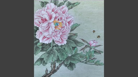 Relax With Chinese Painting - Peony Flower and Bees