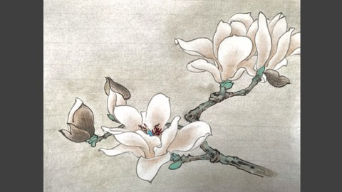 Relax With Chinese Painting - Magnolia Flower