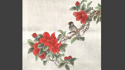 Relax With Chinese Painting - Camellia Flower and Bird