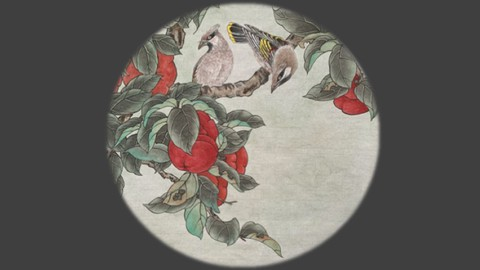 Relax With Chinese Painting - Persimmon and Waxwing