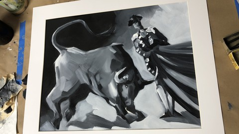 Acrylic Painting the Bull Fight + FREE book + certificate