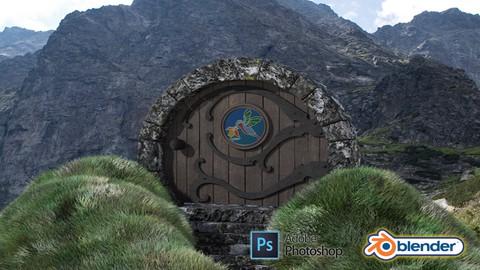 Blender 2.9 & Adobe Photoshop 3D Modeling a Hobbit Door