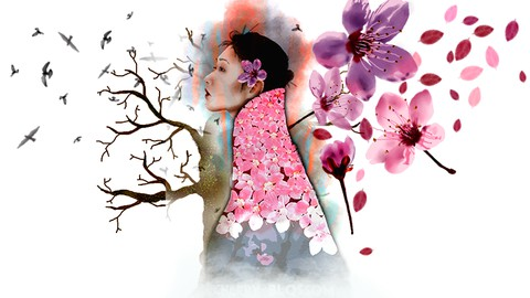 Gestalte Aquarell - Kirschblueten Illustrationen