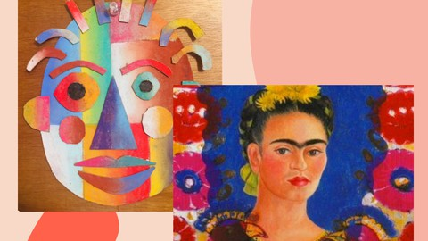 Frida Kahlo Self Portrait Drawing and Cardboard Face Collage