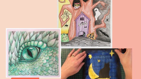 3 Halloween Painting, Drawing, and Collage Art Lessons.