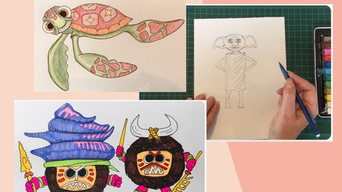 3 drawing lessons - FILMS! Draw Dobby, Squirt, and Kakamora.