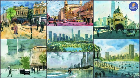 Simple Watercolor Streetscapes and Urban Landscapes
