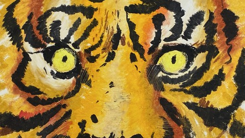 Графика. Рисуем тигра масляной пастелью