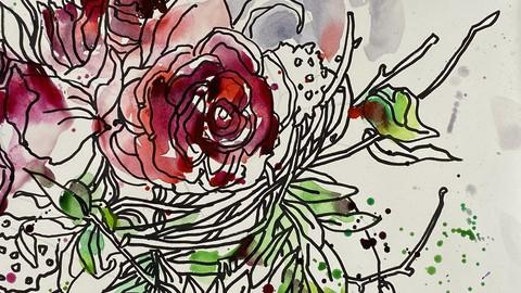Aquarell und Grafik. Teil1. Trockene Blumen