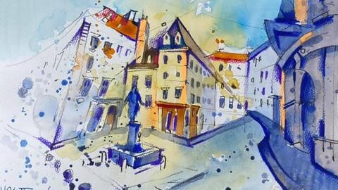 Акваграфика. Австрийский городской и деревенский пейзаж