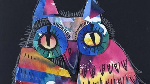 Креативный коллаж. Сова и 8 характеров кошек