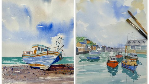 Watercolours of boats for beginners and beyond