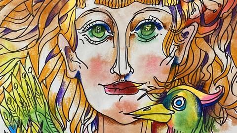 Акваграфика. Девушка с птицей счастья в руках