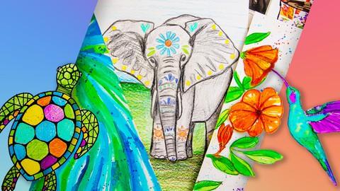 Arte para Principiantes y Niños: 8 Proyectos de Dibujo+