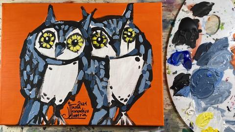 Acryl Malerei Modern. Decorative Tiere