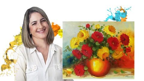 Curso de Pintura em Tela - Rosas Vermelhas e Amarelas