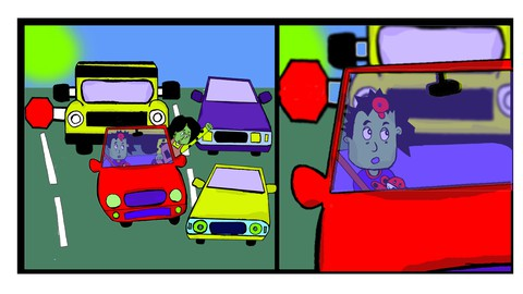 Cartoon Drawing Course : Angry Mom Driving in Traffic