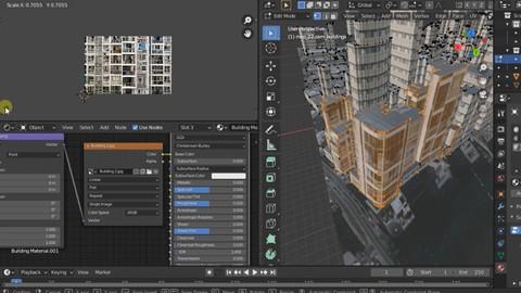 Blender city and landscape modeling