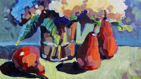 Acrylmalerei. Impressionismus. Malen mit Pinselstrichen