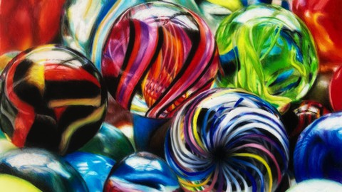 Marbles in colored pencils on drafting film