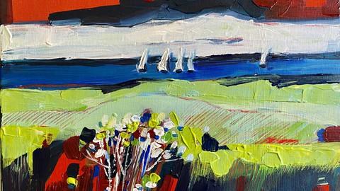 Acryl Malerei See Landschaften