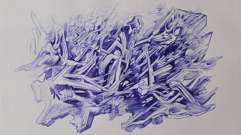Meditative Surrealist Drawing with Ballpoint Pen