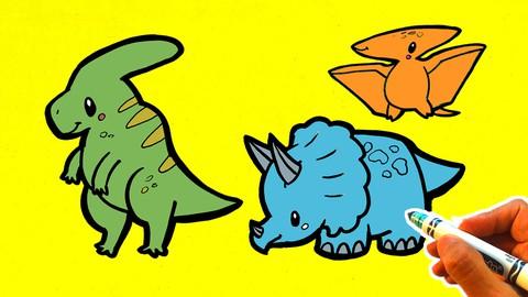 How to Draw Cute Kawaii Dinosaurs